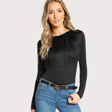 Load image into Gallery viewer, Black Fringe Long Sleeve Crew Neck T Shirt - zoviana