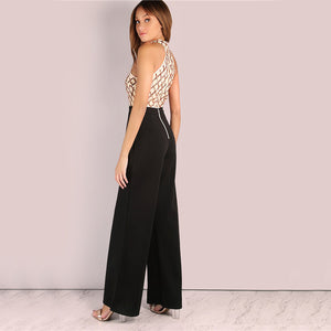 Colorblock Sequined Halter Neck Wide Leg Jumpsuit - zoviana