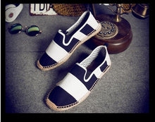 Load image into Gallery viewer, Men Linen Canvas Striped Flat Heels Espadrilles Shoes - zoviana