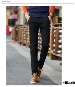 Mens Cotton Long Straight Trousers Pants - zoviana