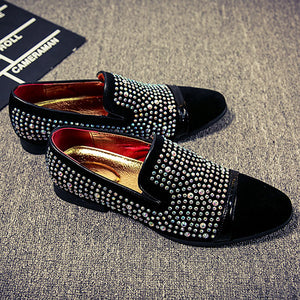 Men Velvet Rhinestone Breathable Flats Slip-On Loafers - zoviana