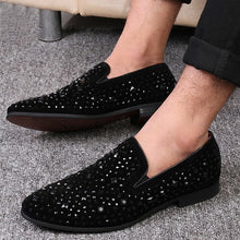 Load image into Gallery viewer, Men Velvet Rhinestone Breathable Flats Slip-On Loafers - zoviana