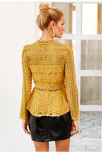 Load image into Gallery viewer, Lace Hollow Out Peplum Ruffles Sleeve Blouse - zoviana
