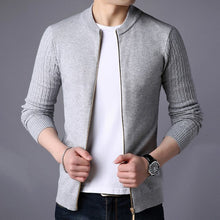 Load image into Gallery viewer, Men Knitted Stand Collar Slim Fit Zip Sweater Cardigan - zoviana