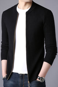 Men Knitted Stand Collar Slim Fit Zip Sweater Cardigan - zoviana