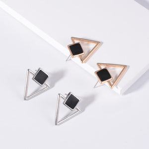 Women Enamel Square Hollow Triangle Earrings - zoviana