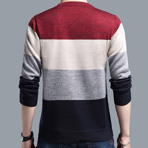 Mens Striped Crocheted Casual Sweater - zoviana