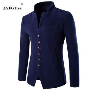 Men Velvet Suit Slim Fit Single Breasted Blazer Coat Jacket - zoviana