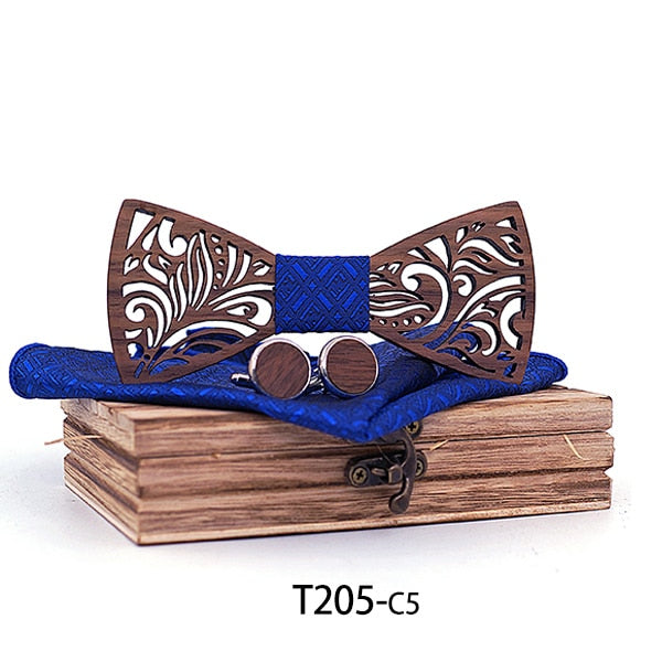 Wooden Bow Tie Handkerchief And Cufflinks Set