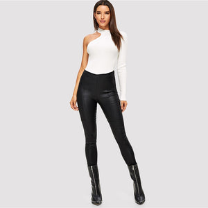 Black Faux Leather High Waist Stretchy Skinny Pants - zoviana