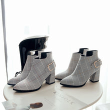 Load image into Gallery viewer, Womens Plaid Pointed Toe High Heels Ankle Boots - zoviana