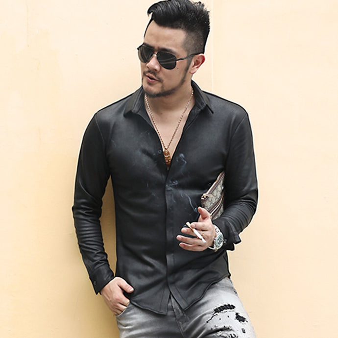 Men's Black Cotton Long Sleeve Single Breasted Shirt - zoviana