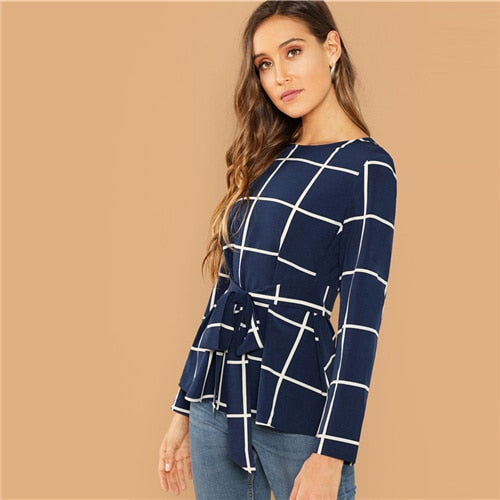 Women Plaid Belted Grid Long Sleeve Plain Blouse - zoviana