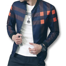 Load image into Gallery viewer, Men Plaid Mandarin Collar Bomber Jacket - zoviana