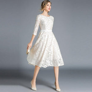 Women Lace Hollow Out Knee-Length Dress - zoviana