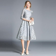 Load image into Gallery viewer, Women Lace Hollow Out Knee-Length Dress - zoviana