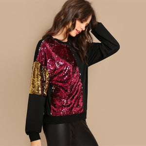 Women Color Block Sequined Sweater Blouse - zoviana
