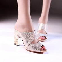 Load image into Gallery viewer, Peep Toe High Heels Crystal Chunky Slides - zoviana