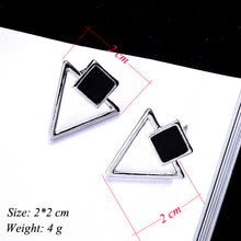 Load image into Gallery viewer, Women Enamel Square Hollow Triangle Earrings - zoviana