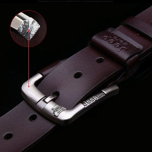 Mens Genuine Leather Alloy Pin Buckle Belt - zoviana