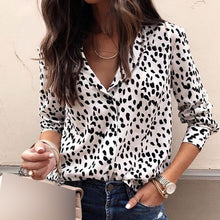 Load image into Gallery viewer, Leopard Turn Down Collar Long Sleeve Shirt