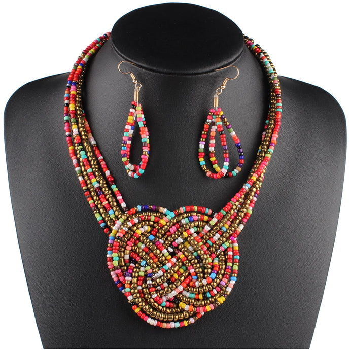 Women's Ethnic Bohemian Handmade Beads Necklace And Earrings - zoviana
