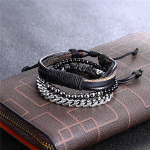 3PCS/Set Multi-layer Leather Stainless Steel Bead Bracelet