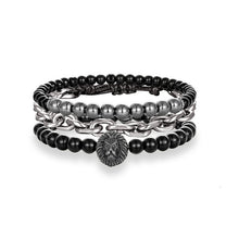 Load image into Gallery viewer, 3PCS/Set Multi-layer Leather Stainless Steel Bead Bracelet