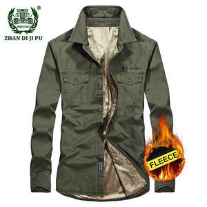 Men military Fleece Long Sleeve Shirt - zoviana