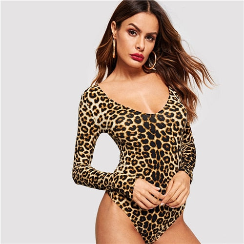 Leopard Long Sleeve Skinny bodysuit
