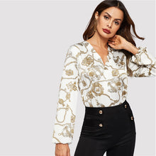 Load image into Gallery viewer, Women White Cut-out V Neck Long Sleeve Blouse - zoviana
