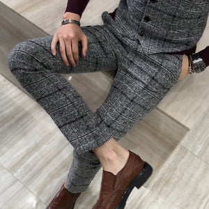 Mens Classic Plaid Slim Fit Pants Trousers - zoviana
