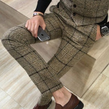 Load image into Gallery viewer, Mens Classic Plaid Slim Fit Pants Trousers - zoviana