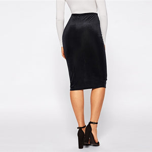 Bodycon Elastic Mid Waist Knee Length Skirt - zoviana