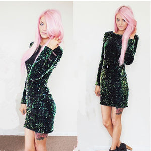 Green Sequined Backless Bodycon Mini Dress - zoviana