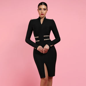 Women Embellished Bandage Bodycon Mini Dress - zoviana