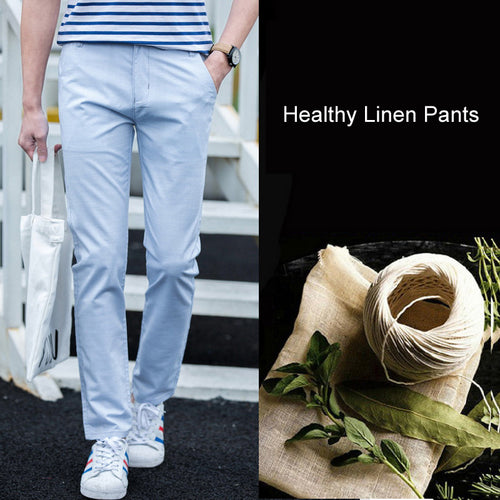 Men Linen Cotton Quick-Drying Stretch Trousers Pants - zoviana