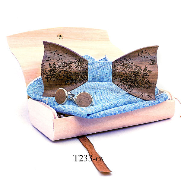 3D Butterfly Wooden Bow Tie Handkerchief Set Box