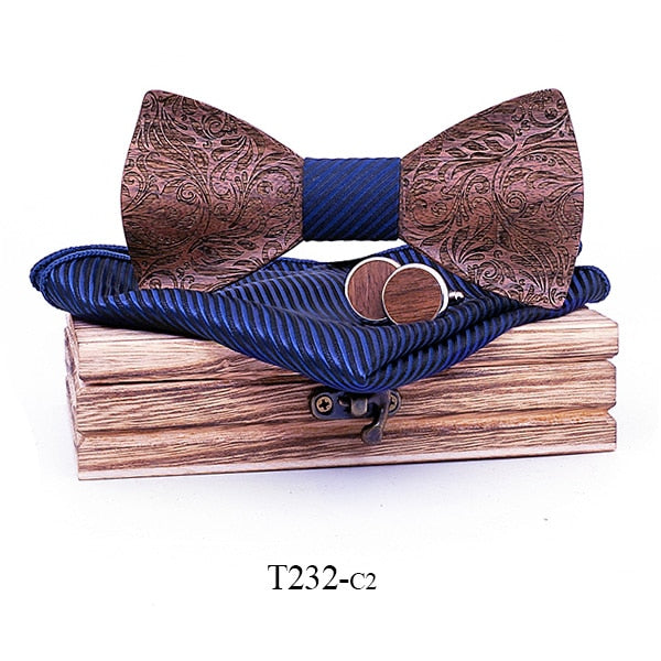 3D Floral Wooden Bow Tie Handkerchief cufflinks Set