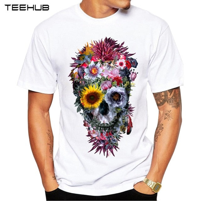 Men Flower Voodoo Skull Short Sleeve T-Shirt Tee - zoviana