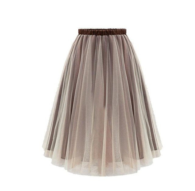 Women Yarn Ball Gown Mid-Calf Tutu Skirt - zoviana