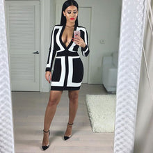 Load image into Gallery viewer, Women Black&White Deep V Neck Mini Dress - zoviana