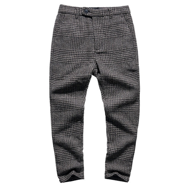 Men Plaid Stretch Wool Trousers Pants - zoviana