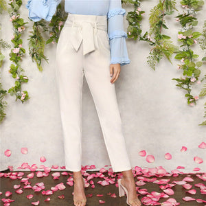 White High Waist Belted Carrot Plain Pants - zoviana
