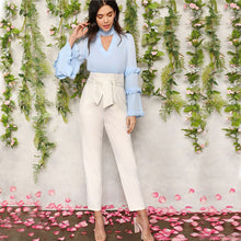 Load image into Gallery viewer, White High Waist Belted Carrot Plain Pants - zoviana