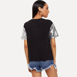 Black Sequined Short Sleeve T-shirt