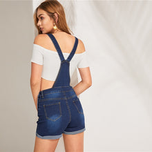 Load image into Gallery viewer, Navy Denim Pinafore Rolled Hem Playsuit - zoviana