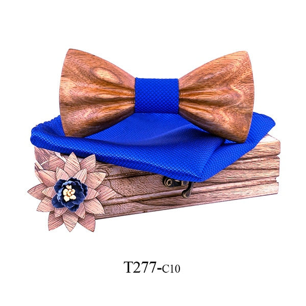 Wooden Floral Bow Tie And Handkerchief Set