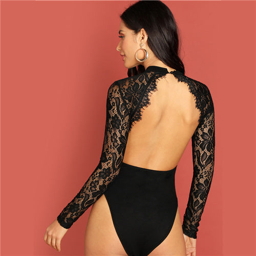 Black Eyelash Panel Backless Cut Out Sheer Bodysuit