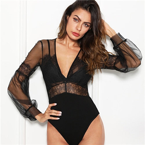 Black Lace Sheer Mesh V Neck Skinny Bodysuit